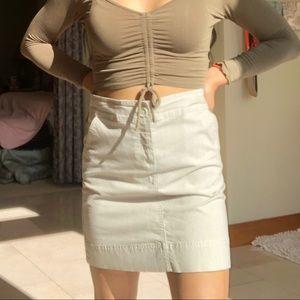 Cream Striped Skirt